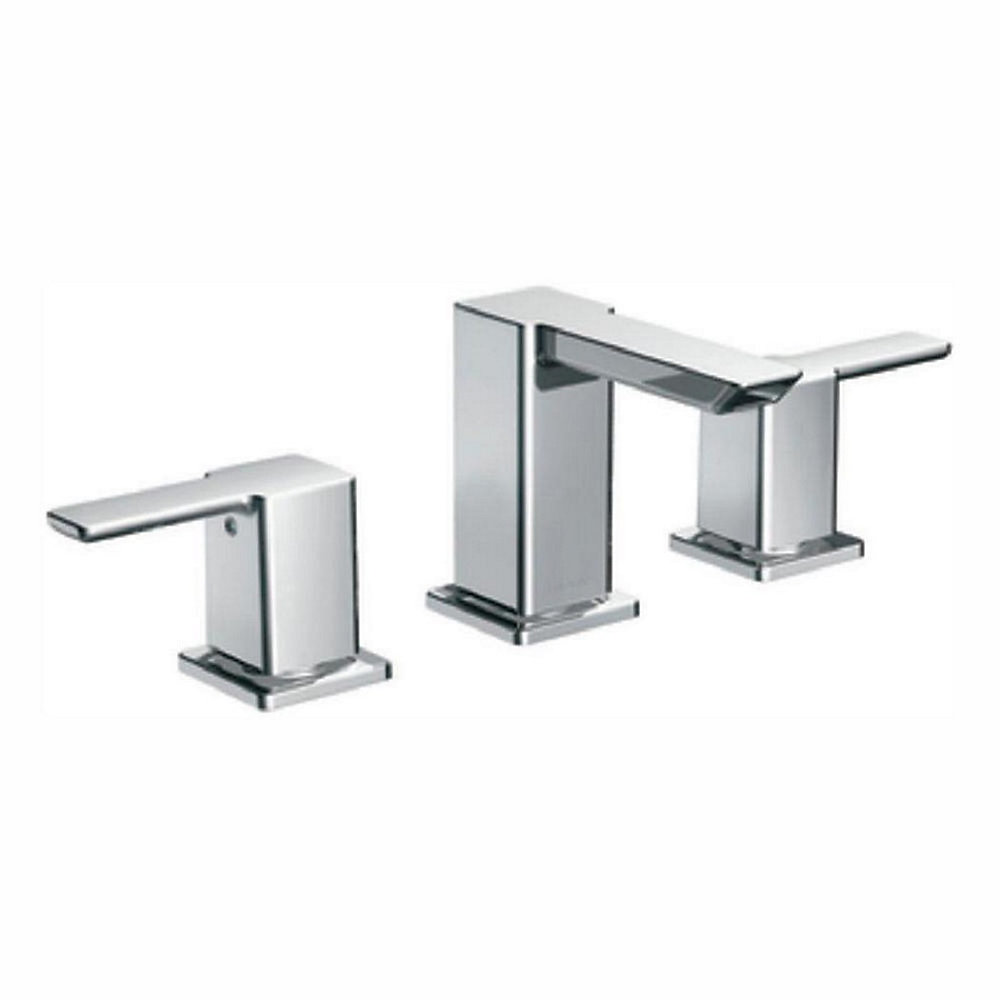 Widespread (8-inch) 2-Handle Low Arc Bathroom Faucet in Chrome with Lever Handles