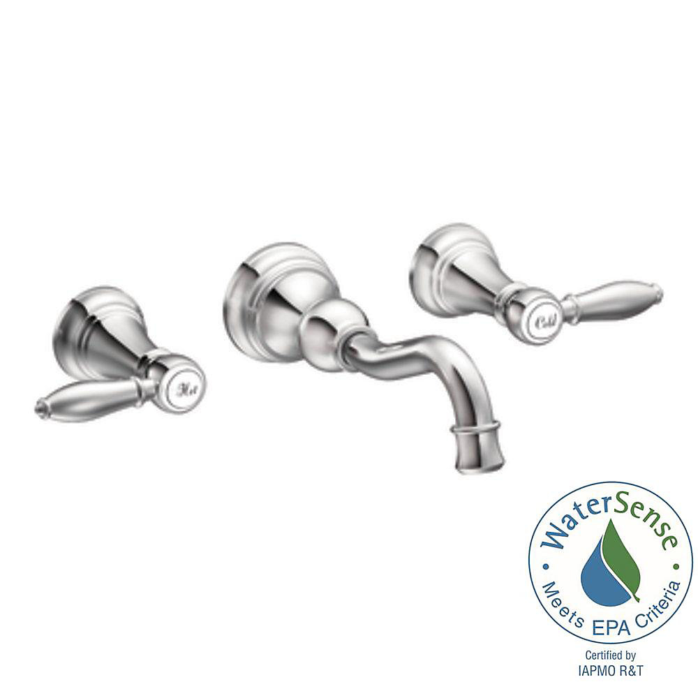 Weymouth Widespread (8-inch) 2-Handle High Arc Bathroom Faucet in Chrome with Lever Handles