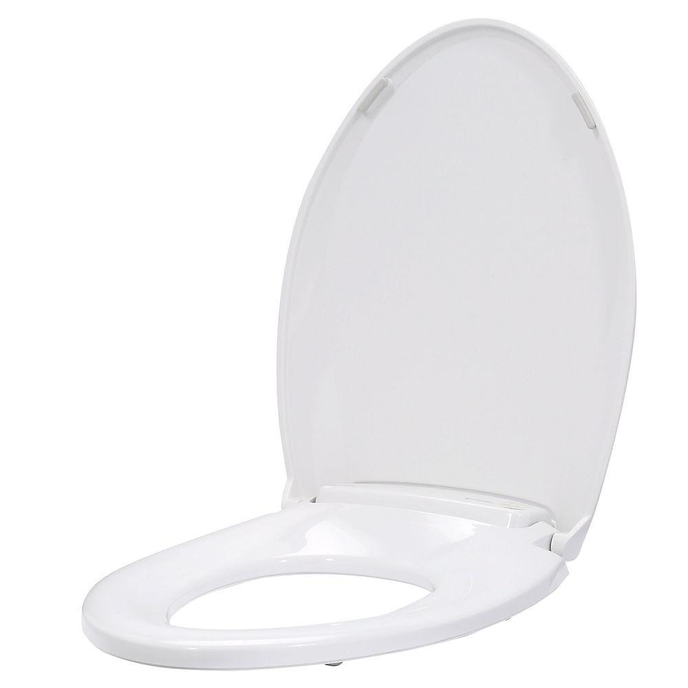 LumaWarm Heated Nightlight Elongated Closed Front Toilet Seat in White