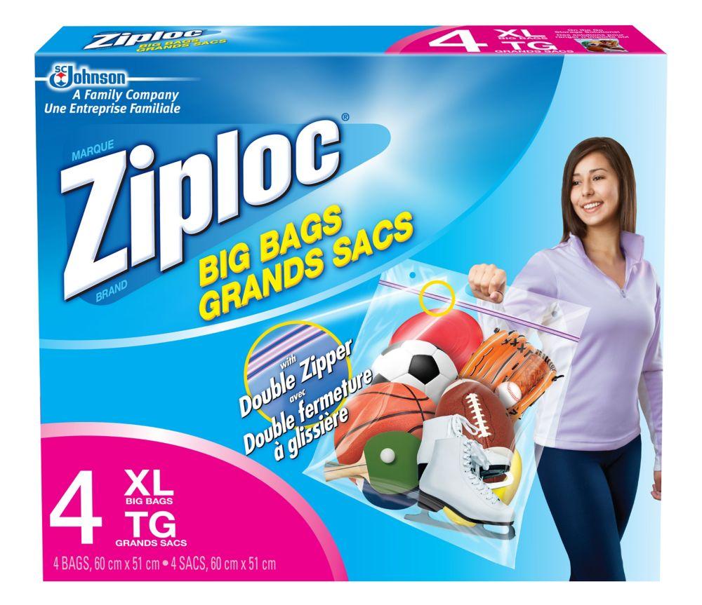 Paq. de 4 grands sacs Ziploc - très grand