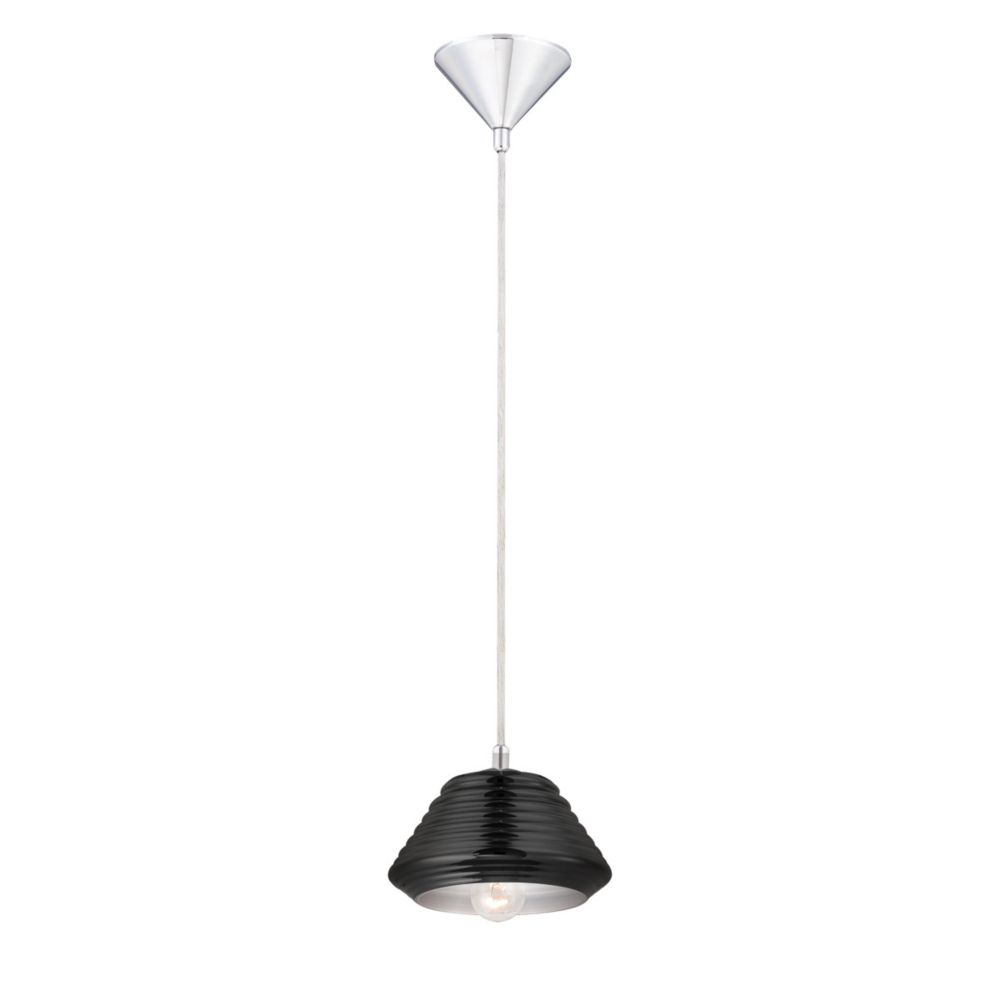 Vaso Collection 1 Light Chrome & Black Pendant