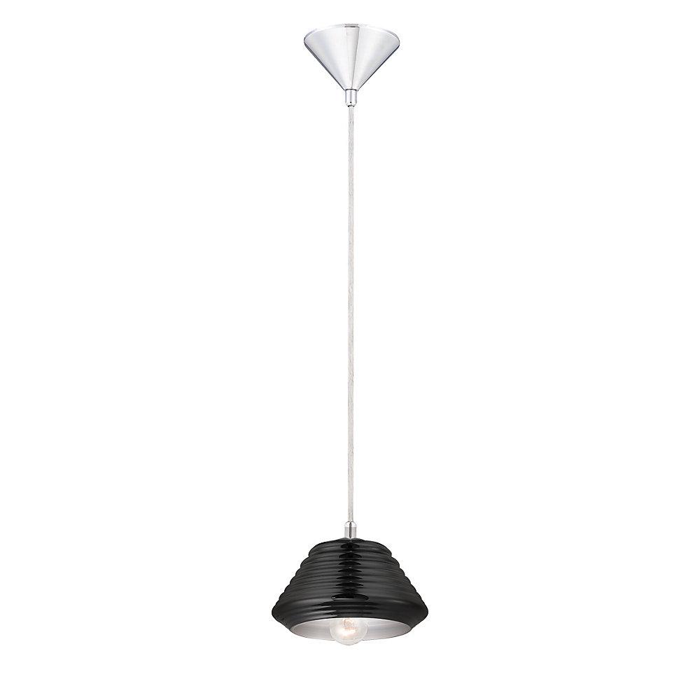 Vaso Collection 1 Light Chrome & Black Pendant