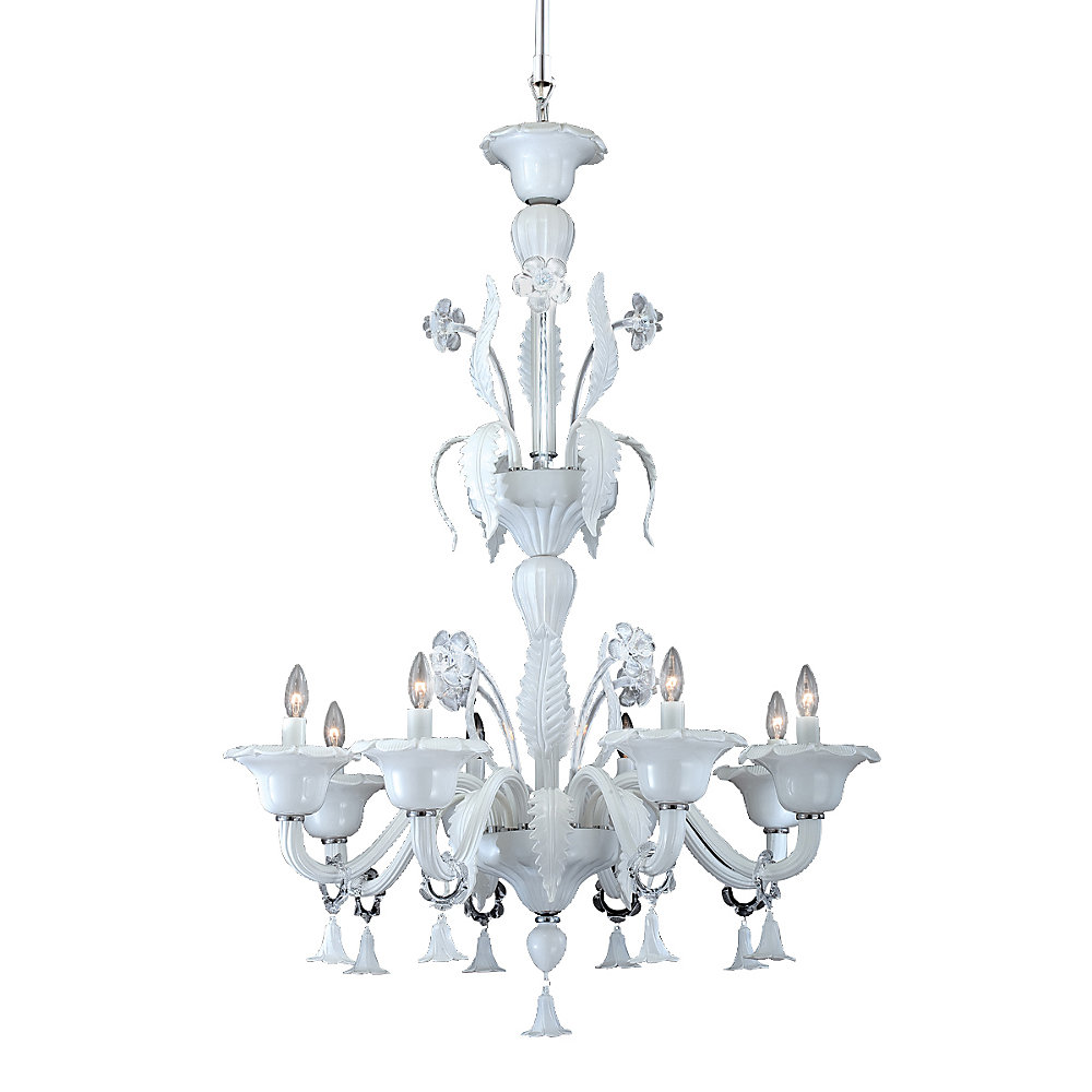 Veronica Collection 8 Light Milky White/clear Chandelier