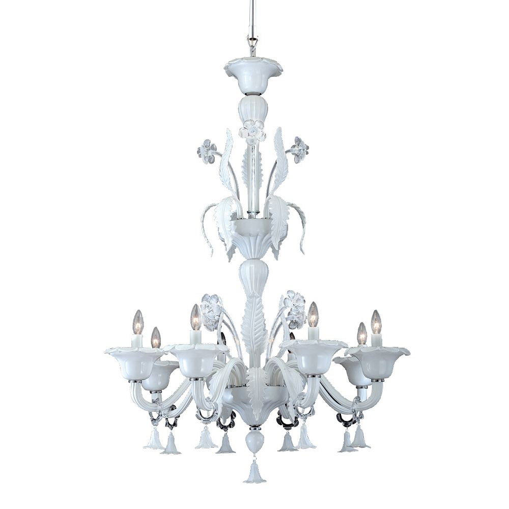 Eurofase Veronica Collection 8 Light Milky White/clear Chandelier