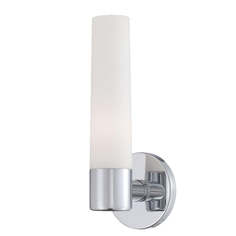 Vesper Collection 1-Light Chrome Wall Sconce with Frosted Glass Shade