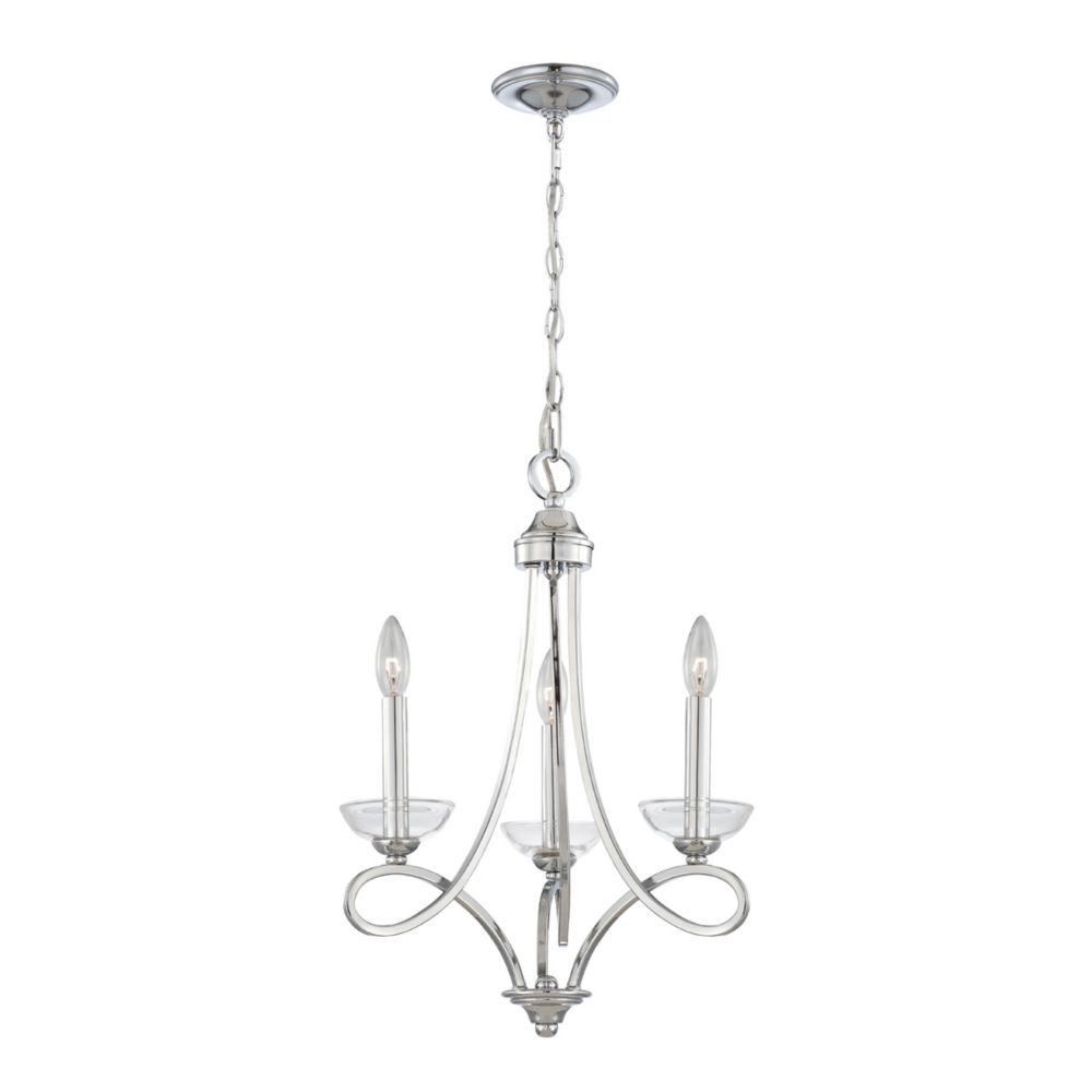 Volte Collection 3 Light Polished Nickel Chandelier