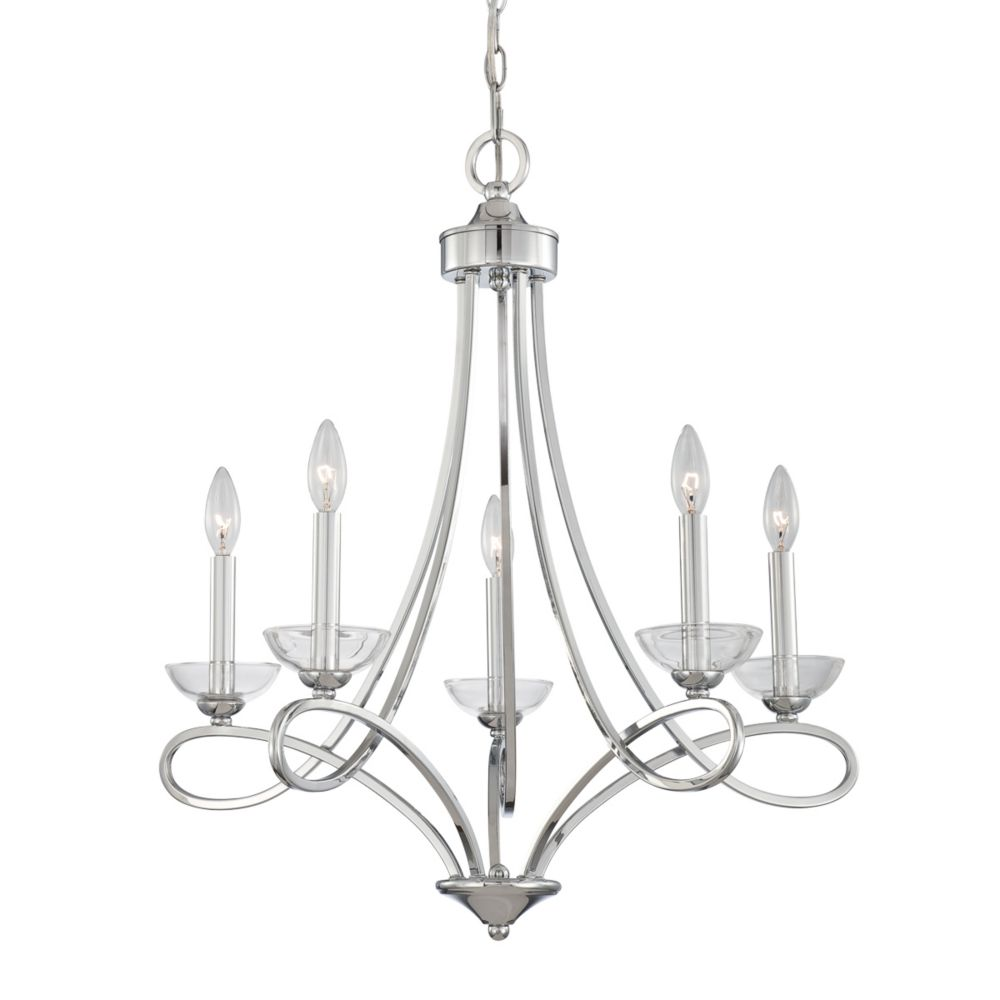 Volte Collection 5 Light Polished Nickel Chandelier