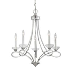 Eurofase Volte Collection 5 Light Polished Nickel Chandelier