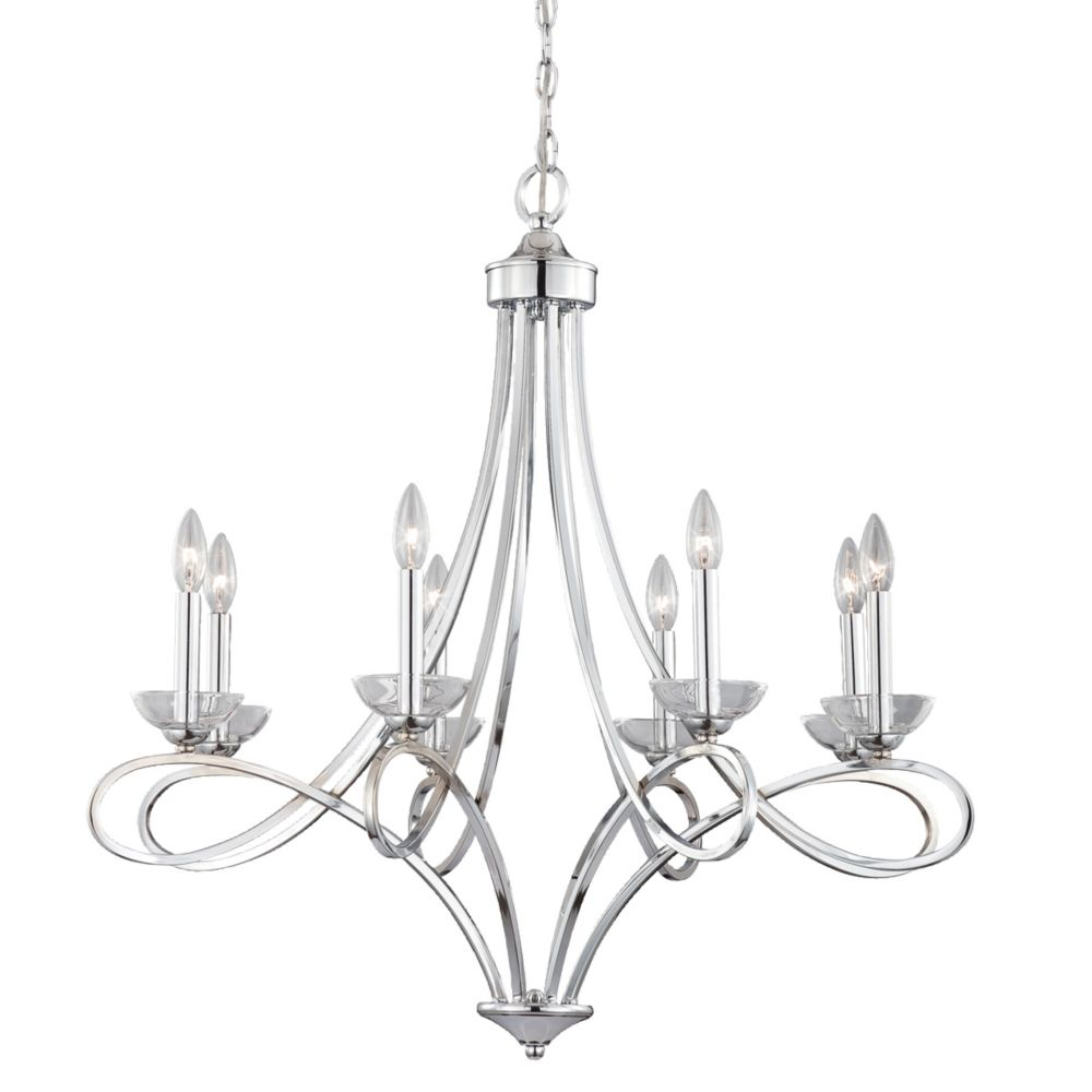 Volte Collection 8 Light Polished Nickel Chandelier