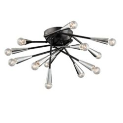 Eurofase Zazu Collection 12 Light Chrome & Black Flushmount