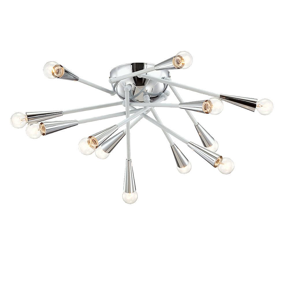 Zazu Collection 12 Light Chrome & White Flushmount