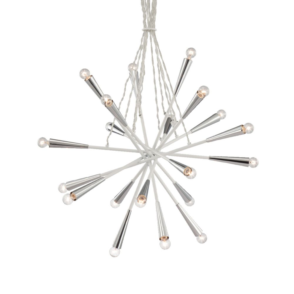Zazu Collection 20 Light Chrome & White Pendant