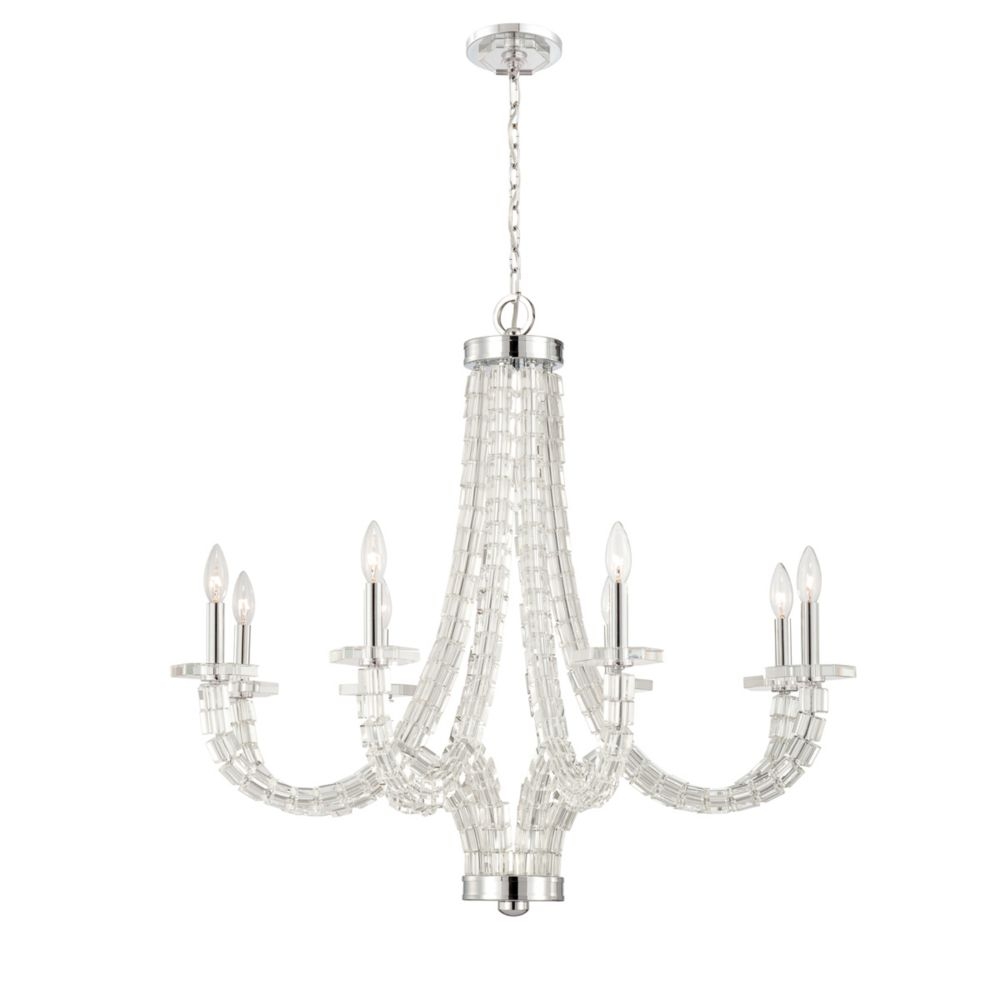 Vetro Collection 8 Light Brushed Nickel Chandelier
