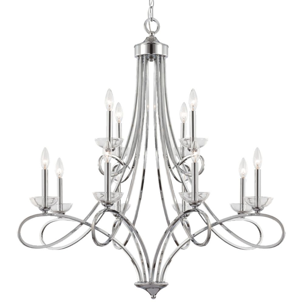 Volte Collection 12 Light Polished Nickel Chandelier