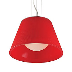 Ribo Collection 1 Light Chrome & Red Pendant