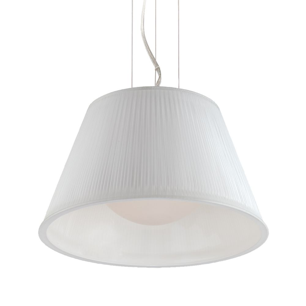 Ribo Collection 1 Light Chrome & White Pendant