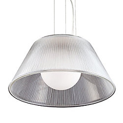 Ribo Collection 1 Light Large Chrome & Clear Pendant