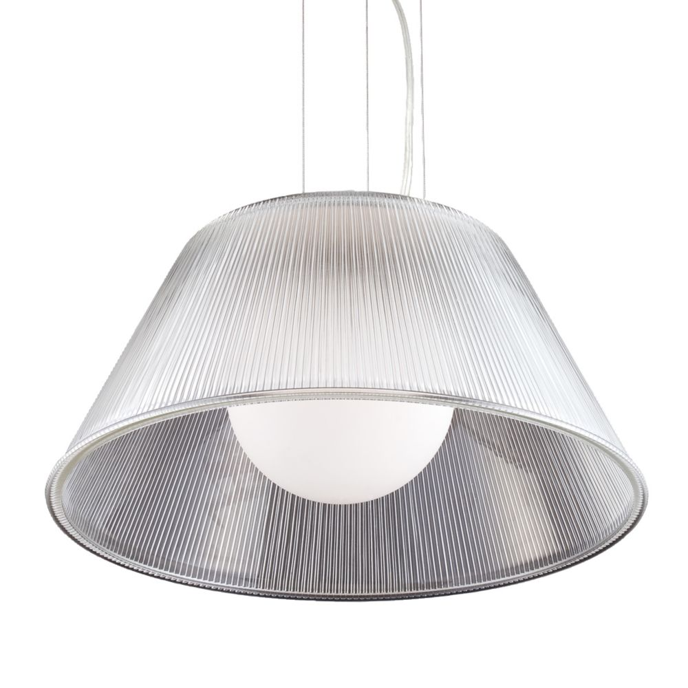 Eurofase Ribo Collection 1 Light Large Chrome & Clear Pendant