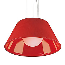 Ribo Collection 1 Light Large Chrome & Red Pendant