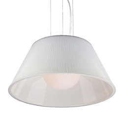 Ribo Collection 1 Light Large Chrome & White Pendant