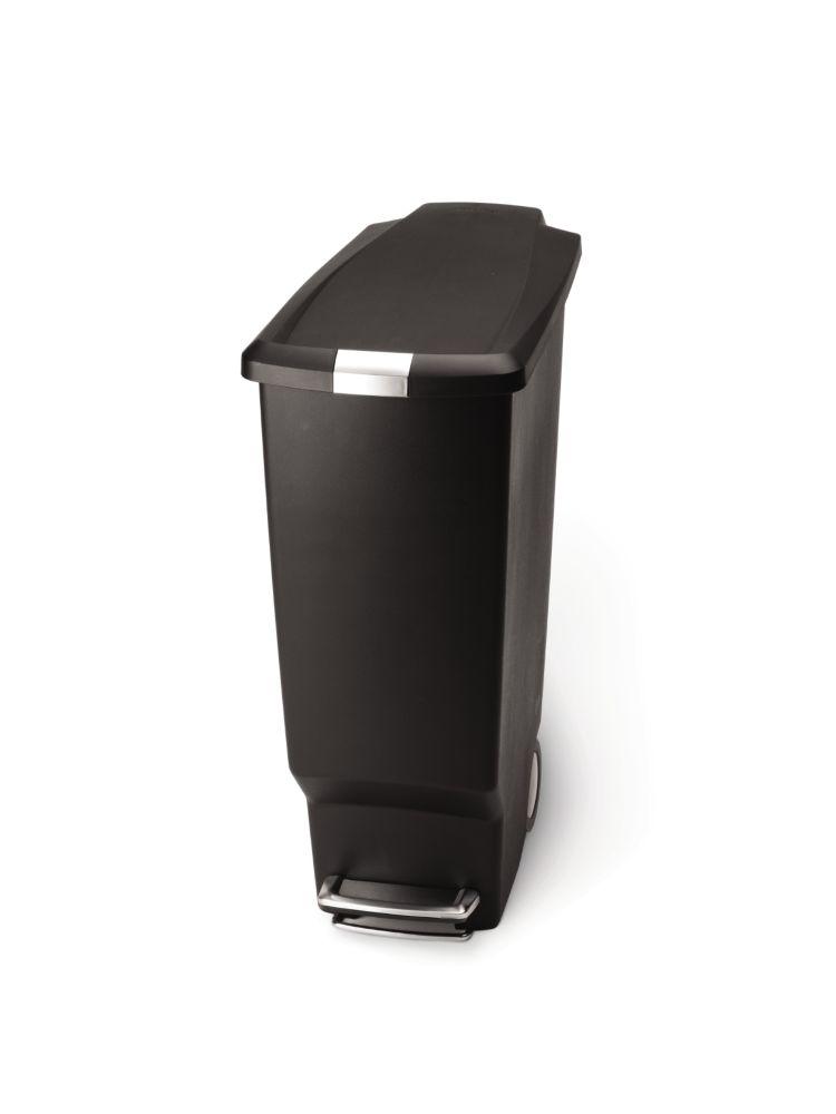 Simplehuman 40 L Black Plastic Slim Step-On Trash Can
