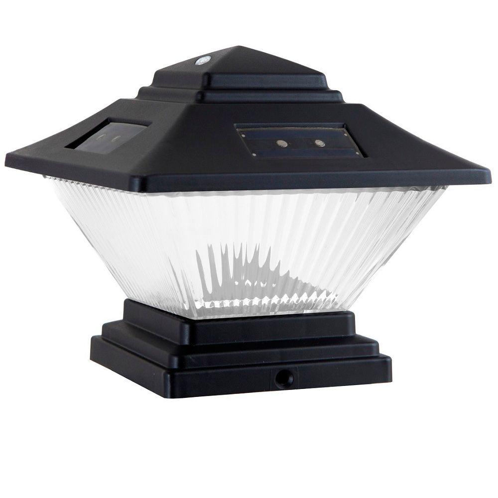 Ensemble de 2 luminaires solaires noirs à double option de montage à DEL avec capuchon de poteau