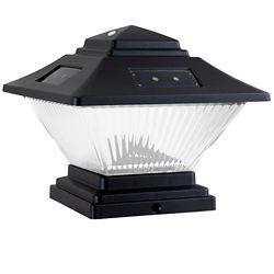 Hampton Bay Ensemble de 2 luminaires solaires noirs à double option de montage à DEL avec capuchon de poteau