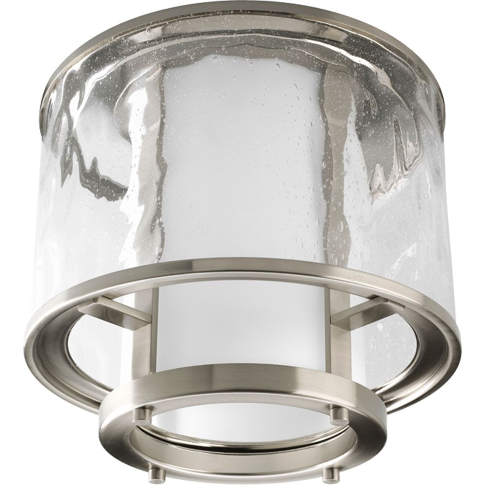 Bay Court Collection Brushed Nickel 1-light Outdoor Flushmount