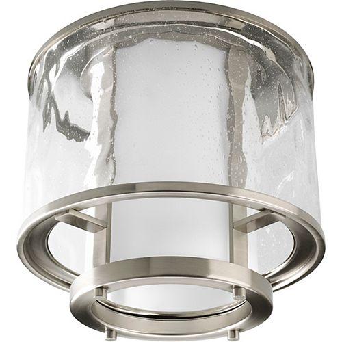 Progress Lighting Bay Court Collection Brushed Nickel 1-light Outdoor Flushmount
