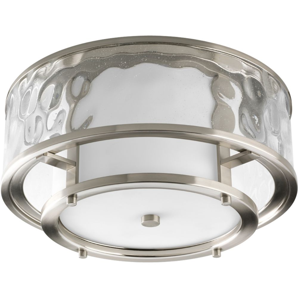 Bay Court Collection Brushed Nickel 2-light Outdoor Flushmount
