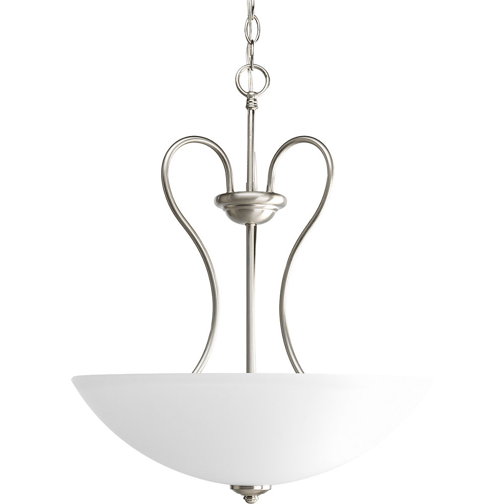 Heart Collection Brushed Nickel 3-light Foyer Pendant