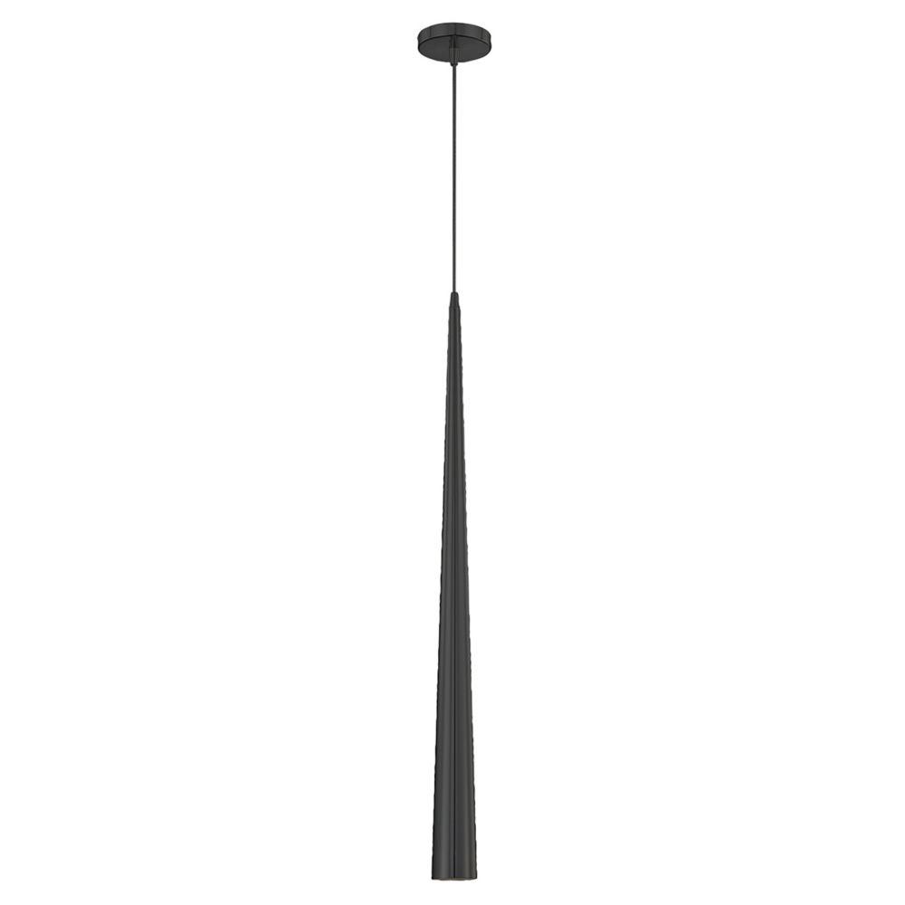 Sliver Collection 1 Light Large Black Pendant