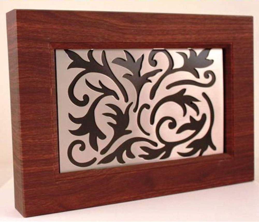 Heath zenith wired wireless door chime wood look with for Decorative scrollwork