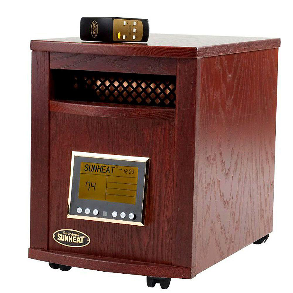 Electronic Infrared Zone Heater with Remote, Mahogany
