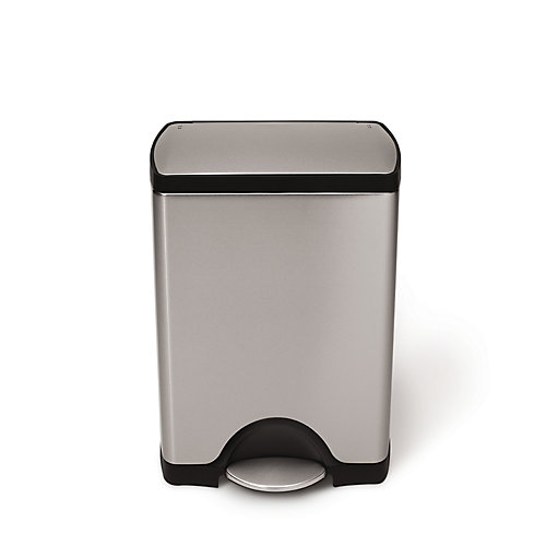 30L Fingerprint-Proof Brushed Stainless Steel Rectangular Step-On Trash Can
