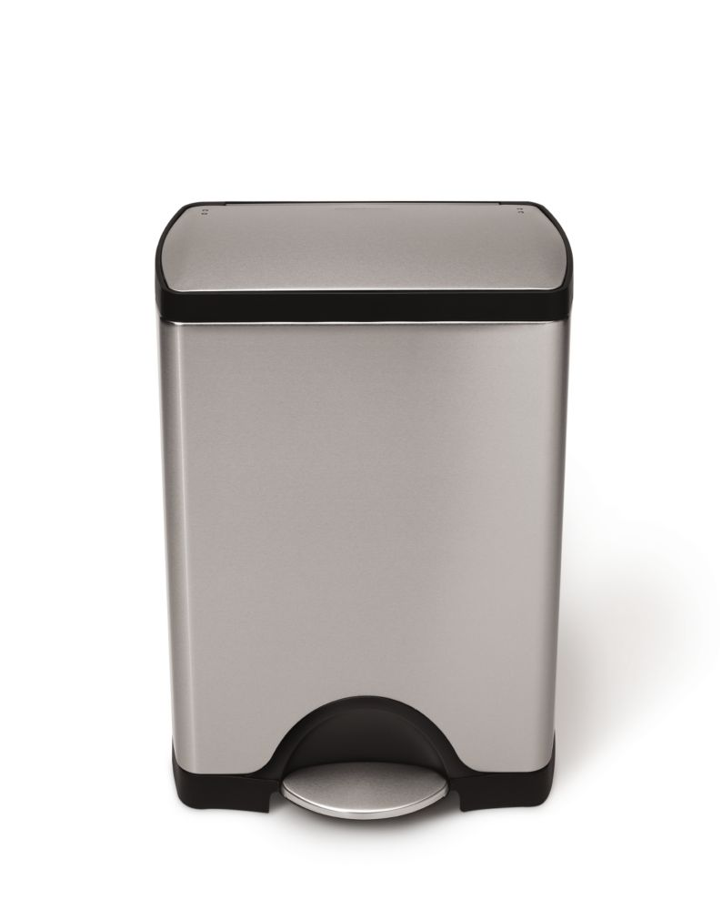 Simplehuman 30L Fingerprint-Proof Brushed Stainless Steel Rectangular Step-On Trash Can