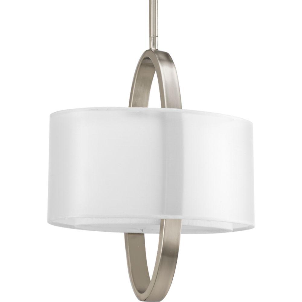 Fluorescente de Suspension à 1 Lumière, Collection Cuddle - fini Nickel Brossé