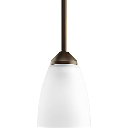 Fluorescente de Mini suspension à 1 Lumière, Collection Gather - fini Bronze à l'Ancienne
