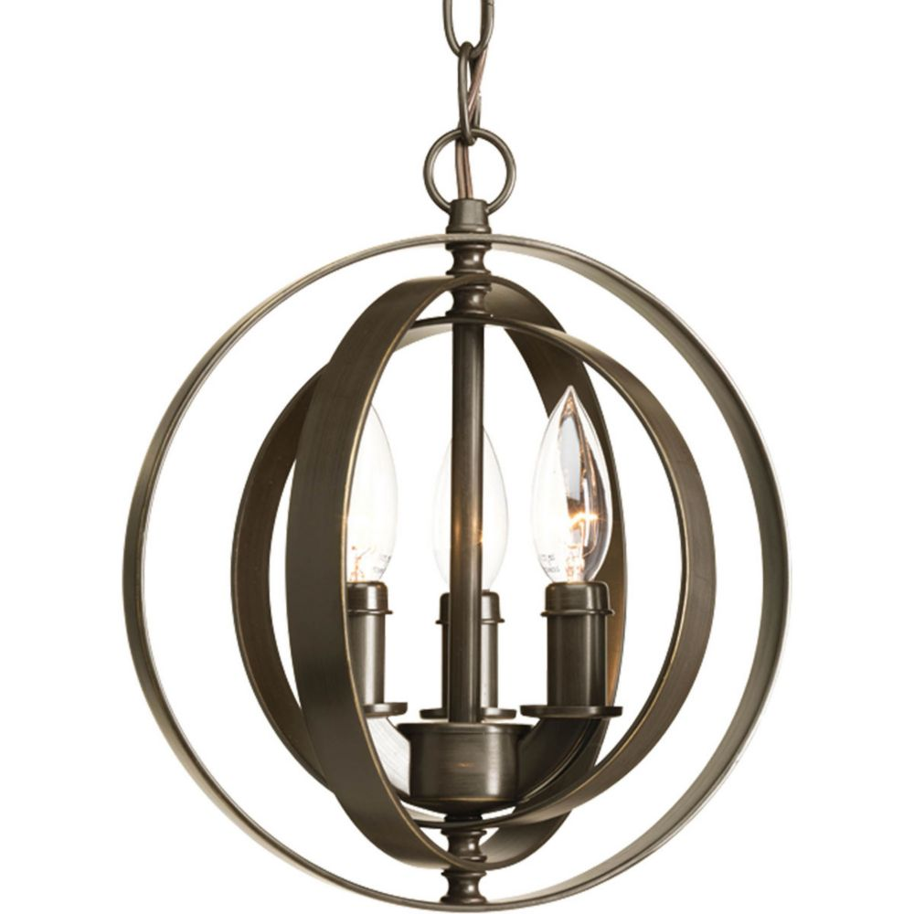 Progress Lighting Equinox Collection 3-Light Pendant Fixture in Antique Bronze