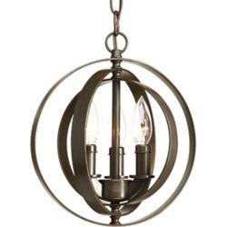 Progress Lighting Equinox Collection 3-Light Pendant Fixture in Antique Bronze