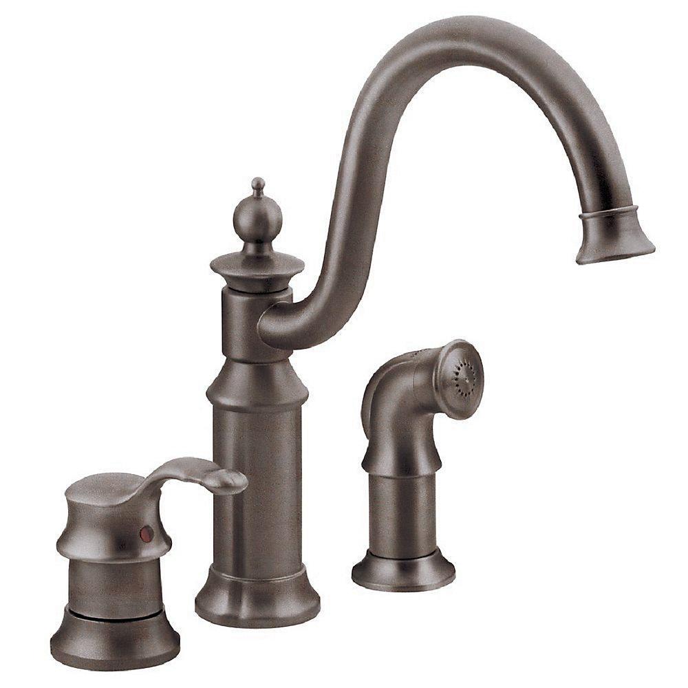 Waterhill Single-Handle Side Sprayer Kitchen Faucet in Oil-Rubbed Bronze