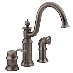 MOEN Waterhill Single-Handle Side Sprayer Kitchen Faucet in Oil-Rubbed Bronze