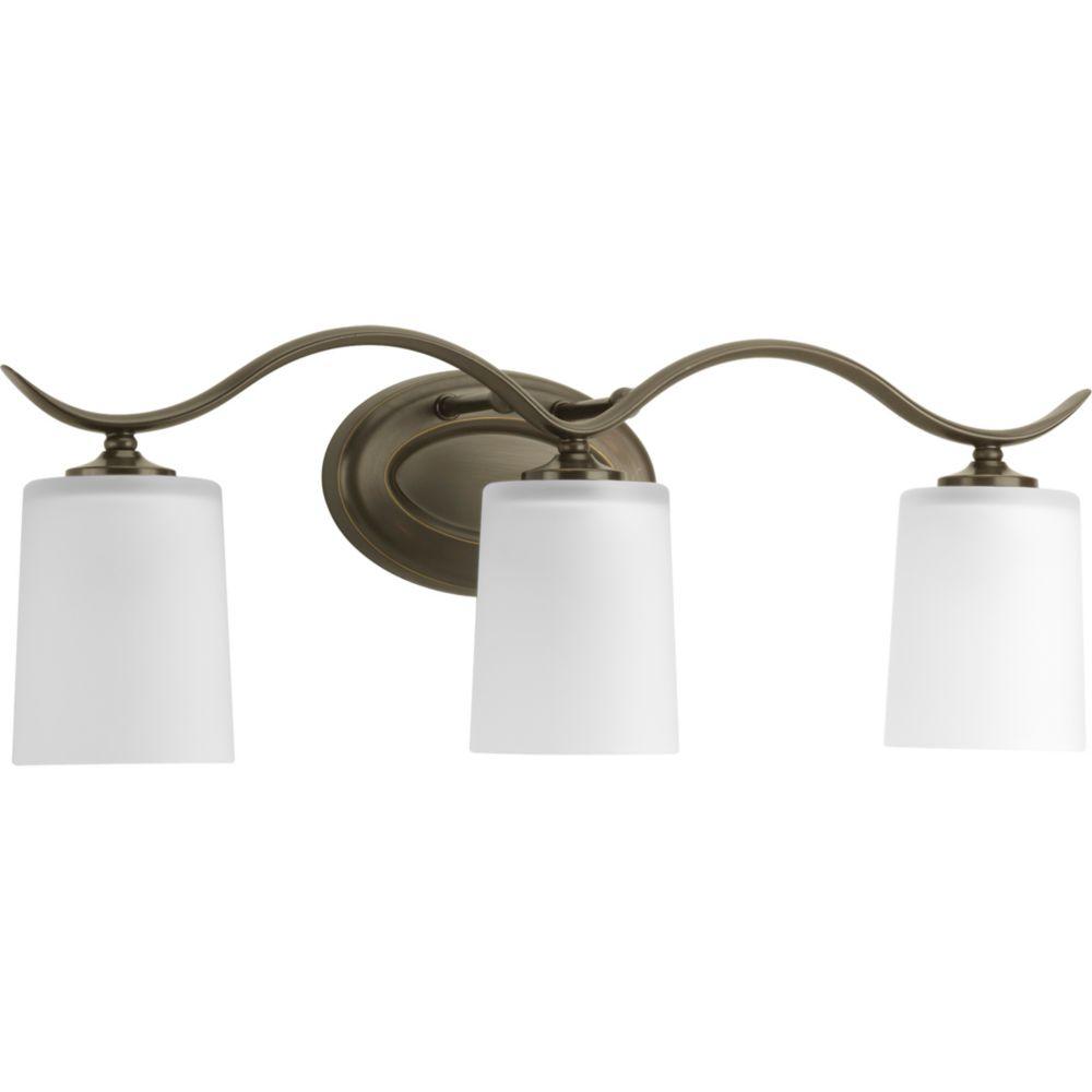 Progress lighting inspire collection antique bronze 3 light bath light the home depot canada for Home depot bathroom lighting bronze