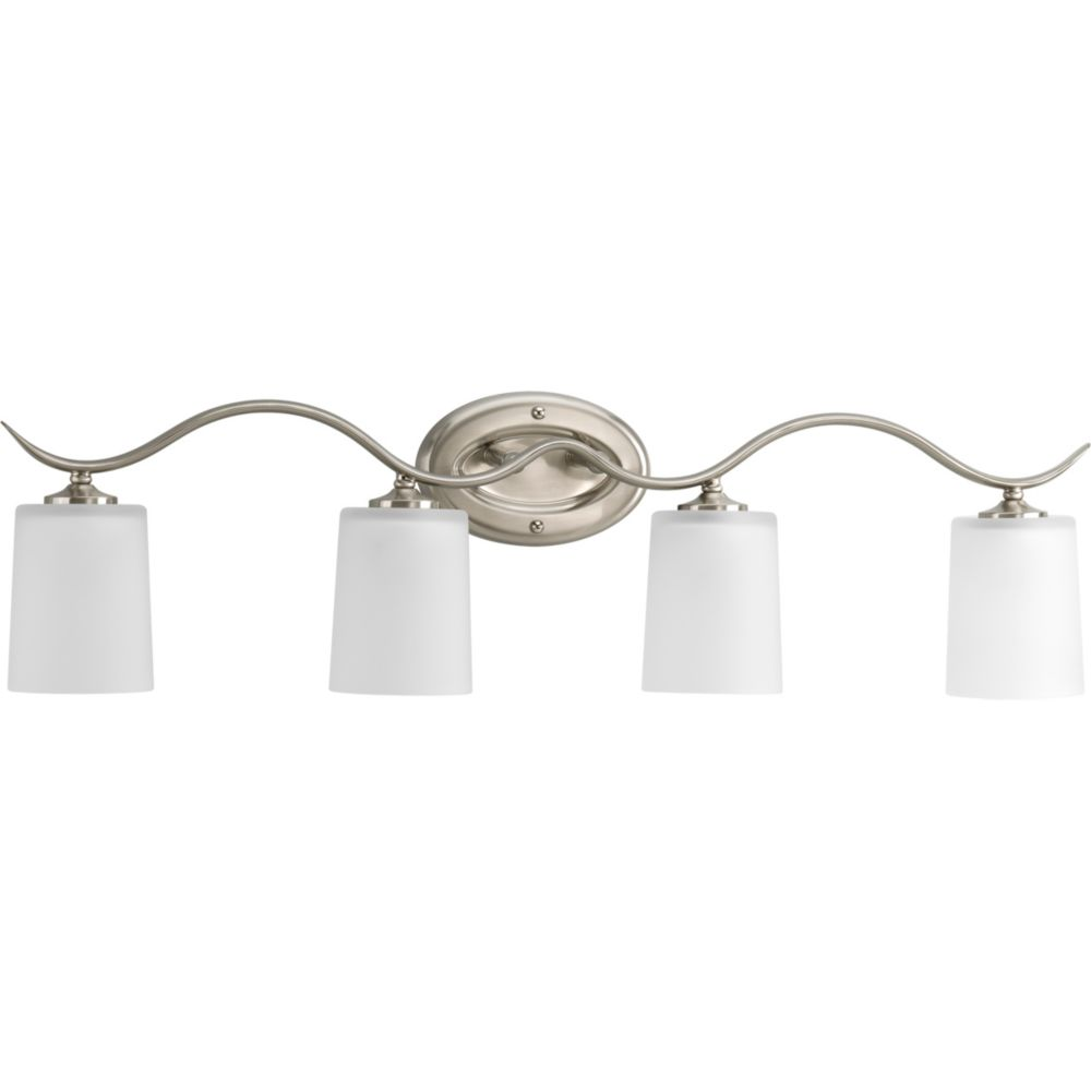 Progress lighting inspire collection brushed nickel 4 for Brushed nickel bathroom lighting fixtures