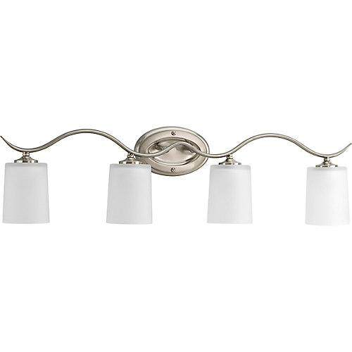Inspire Collection 4-Light Bath Fixture in Brushed Nickel with Etched Glass Shades