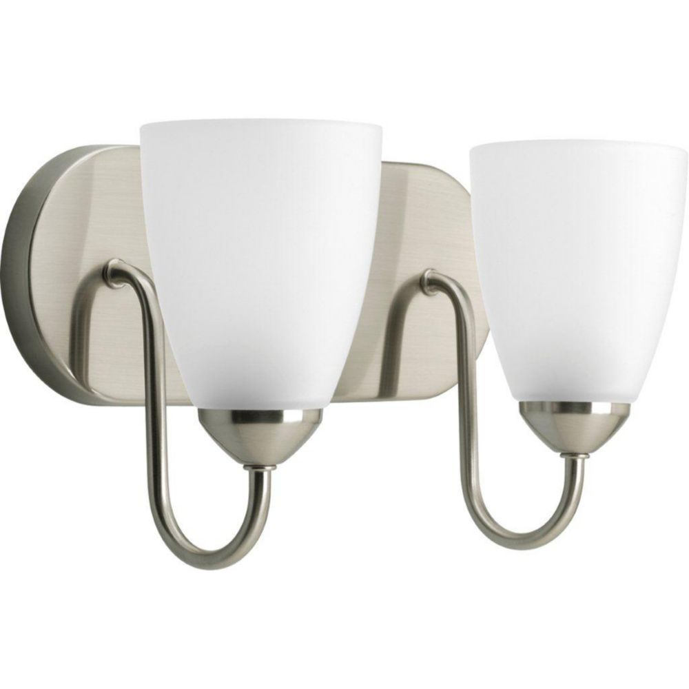 Gather Collection Brushed Nickel 2-light Bath Light
