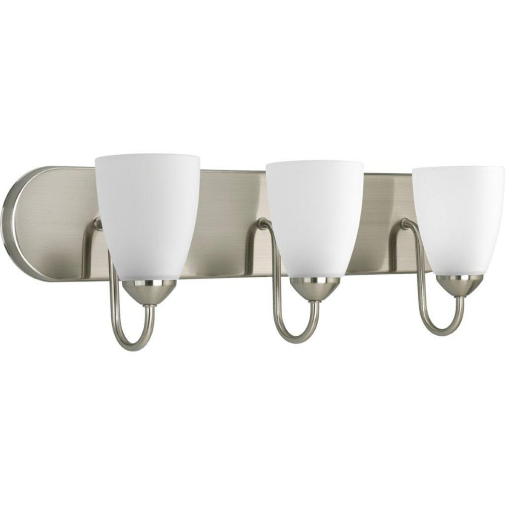 Progress lighting gather collection brushed nickel 3 light for Brushed nickel lighting for bathroom