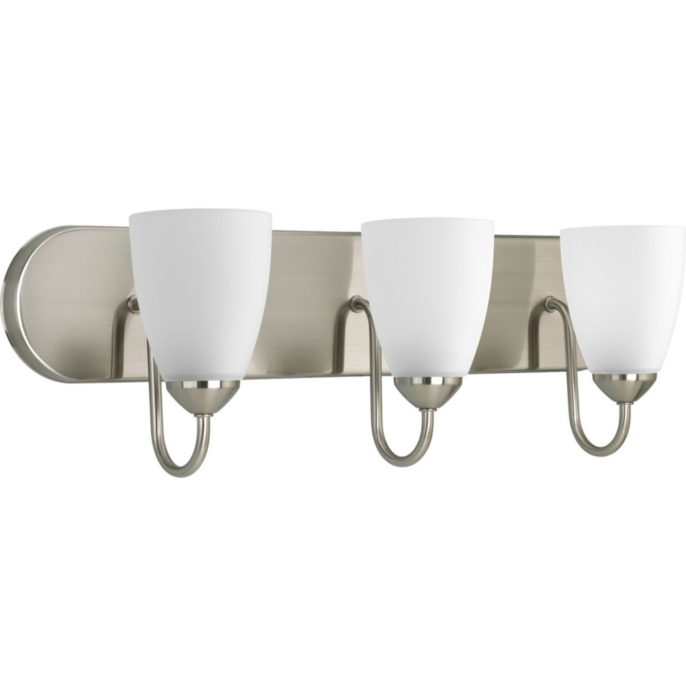 Gather Collection Brushed Nickel 3-light Fluorescent Bath Light