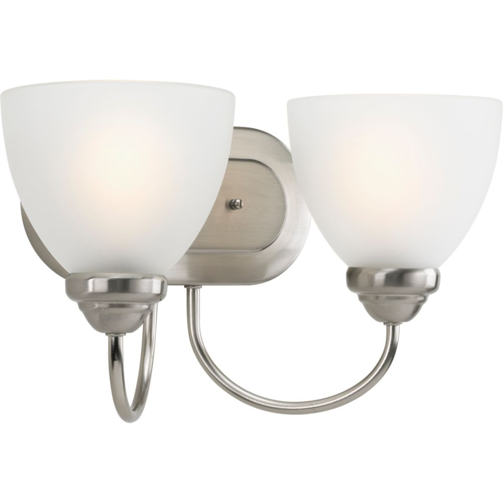 Progress Lighting Heart Collection 2-light Brushed Nickel Bath Light