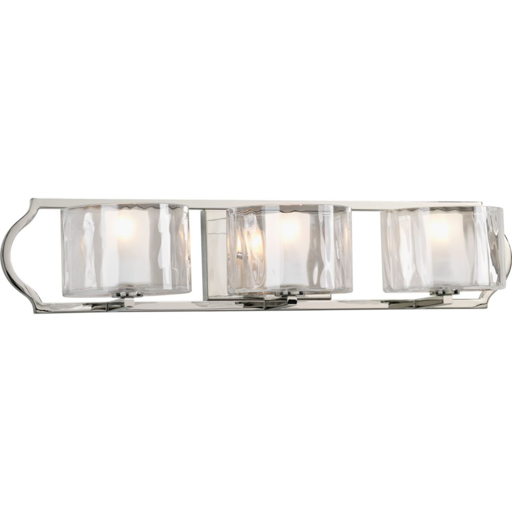 Progress Lighting Caress Collection 3-light Polished Nickel Bath Light